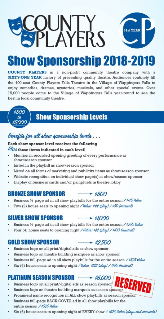 Season 61 Sponsorships – County Players at the Falls Theatre